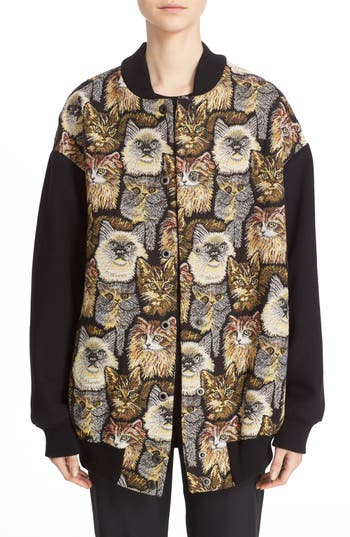 Stella McCartney Cat Jacquard Bomber Jacket