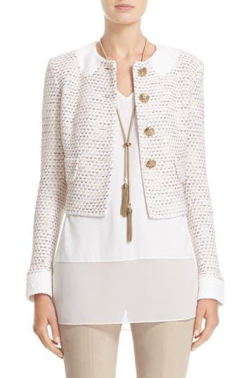 St. John Collection Faux Collar Caillou Tweed Jacket