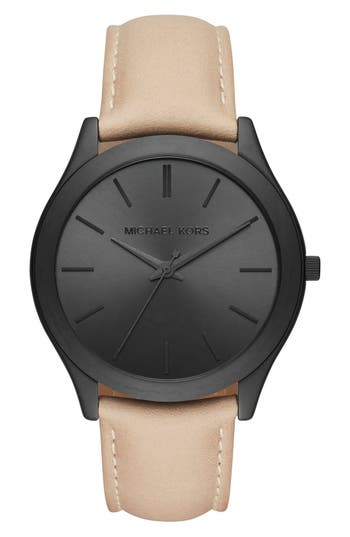 Michael Kors 'Slim Runway' Leather Strap Watch, 44mm