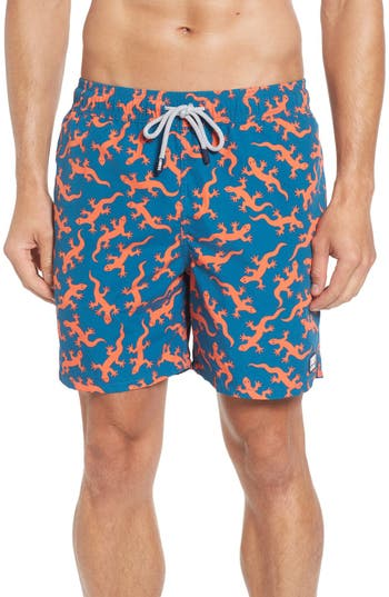 Tom & Teddy Lizard Print Swim Trunks