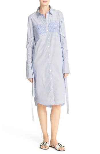 Tibi Removable Strap Stripe Shirtdress