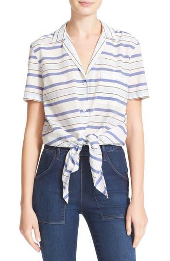 Equipment Keira Tie Front Stripe Cotton Shirt