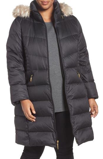 Ellen Tracy Faux Fur Trim Down Coat
