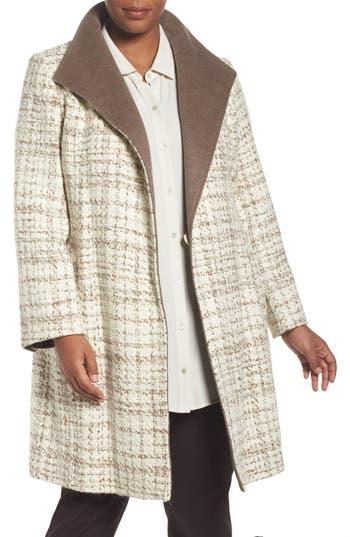 Ellen Tracy Colorblock Wool Blend Wrap Coat (Plus Size)