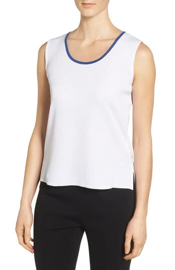 Ming Wang Tipped Scoop Neck Knit Tank