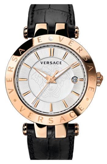 Versace 'V-Race' Leather Strap Watch, 42mm