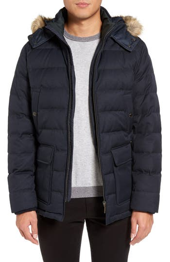 Ted Baker London Faux Fur Trim Down Parka