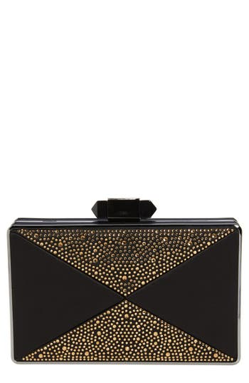 Natasha Couture Geo Beaded Box Clutch