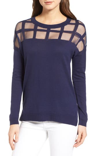 Trouvé Sheer Grid Yoke Sweater