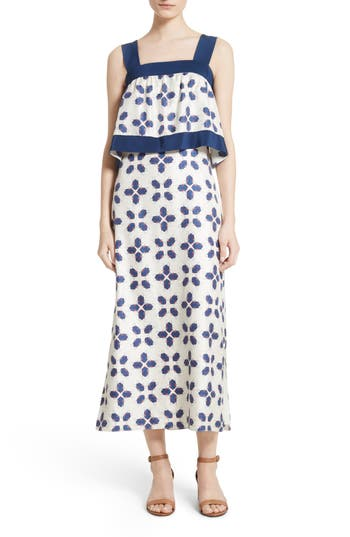 Tory Burch Avila Beetle Print Popover Bodice Dress