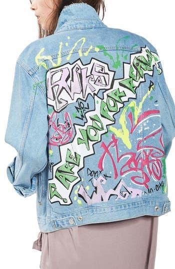 Topshop Graffiti Denim Jacket