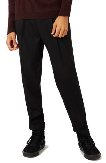 Topman Pleated Tapered Fit Trousers