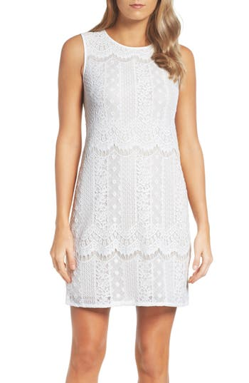 Adrianna Papell Lace A-Line Dress (Regular & Petite)