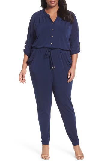 MICHAEL Michael Kors Roll Sleeve Jumpsuit (Plus Size)