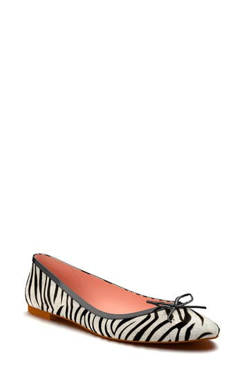 Shoes of Prey Zebra Stripe Genuine Calf Hair Ballet Flat (Women)