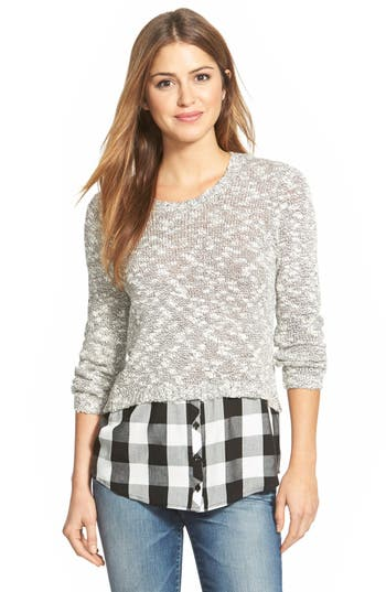 kensie Layered Look Slub Knit Sweater