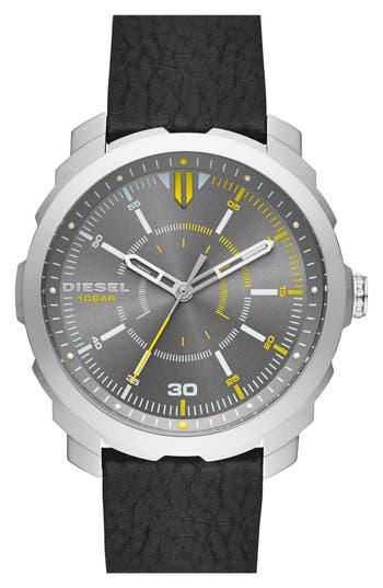 DIESEL® 'Mac' Leather Strap Watch, 46mm