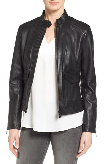 Bernardo 'Kerwin' Leather Jacket (Regular & Petite)