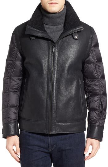 Tumi Genuine Shearling & Nylon Quilted Flight Jacket