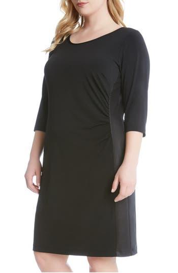 Karen Kane Faux Leather Inset Jersey Sheath Dress (Plus Size)