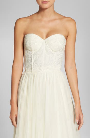 Jenny Yoo Beaded Strapless Lace Bustier