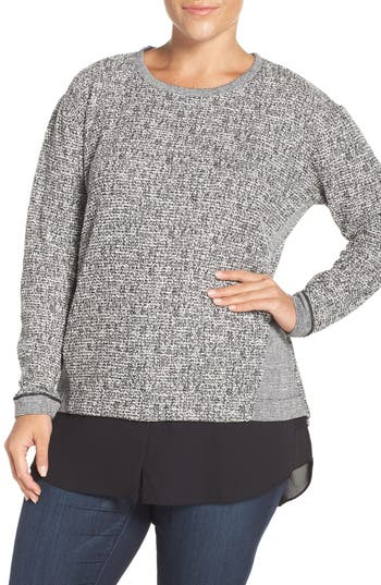 Two by Vince Camuto Woven Hem Metallic Knit Top (Plus Size)
