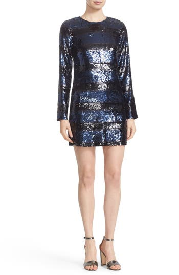 Veronica Beard Avenue Sequin Stripe Minidress