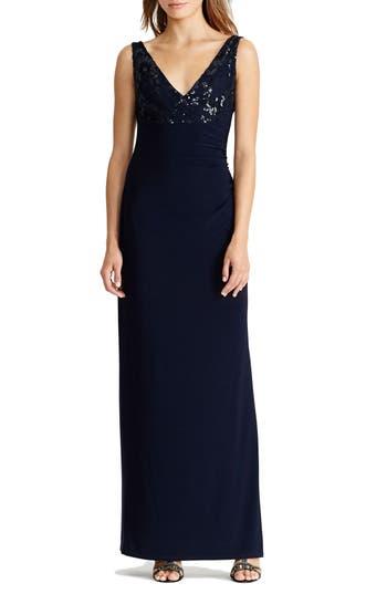 Lauren Ralph Lauren Sequin & Jersey Cowl Back Gown