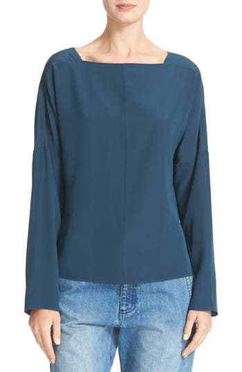 Tibi Boatneck Silk Top