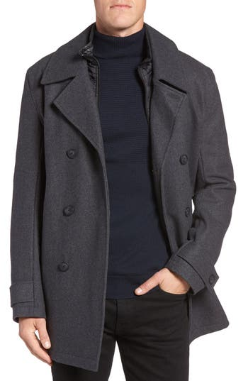 Marc New York by Andrew Marc Cushing Wool Blend Peacoat with Detachable Bib