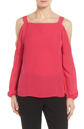 Elie Tahari Lindy Cold Shoulder Silk Blouse
