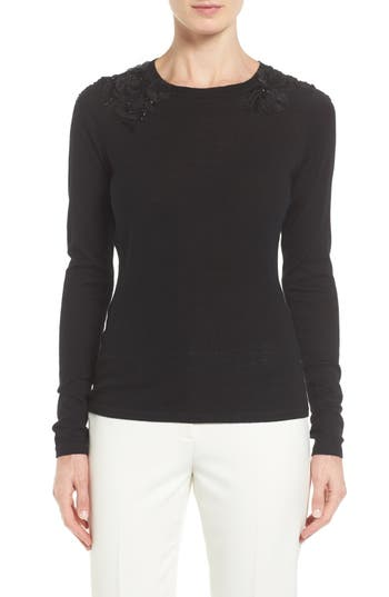 Elie Tahari Grace Embellished Merino Wool Sweater