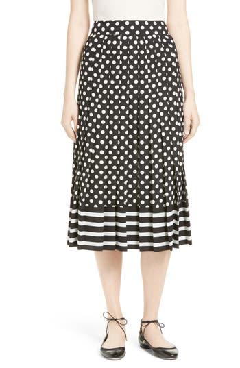 kate spade new york dot & stripe pleated skirt