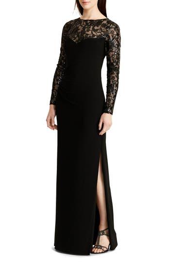 Lauren Ralph Lauren Sequin Lace & Jersey Gown (Regular & Petite)