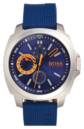 BOSS Orange 'Brisbane' Multifunction Slicone Strap Watch, 49mm