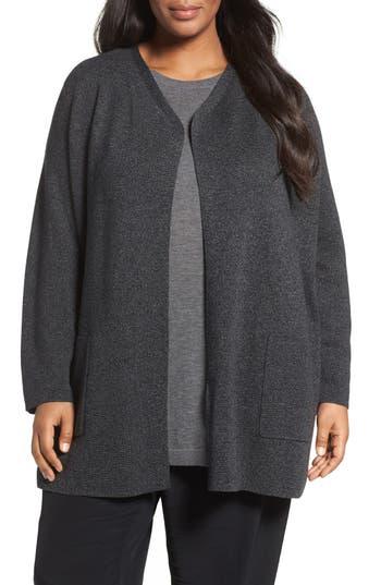 Eileen Fisher Tencel®Lyocell & Merino Wool Long Cardigan (Plus Size)