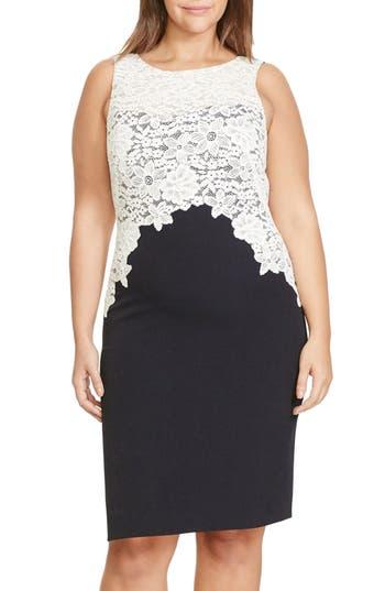 Lauren Ralph Lauren Colorblock Lace Overlay Sheath Dress (Plus Size)