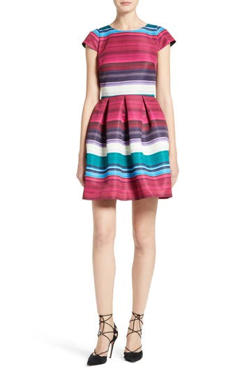 Ted Baker London Blushing Bouquet Stripe Fit & Flare Dress