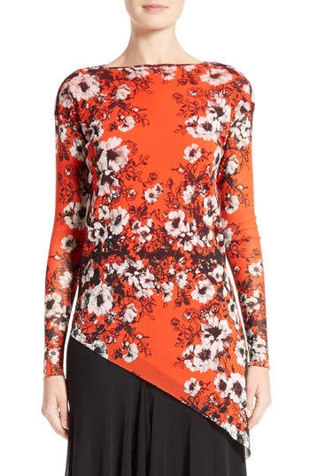 Fuzzi Floral Print Tulle Top