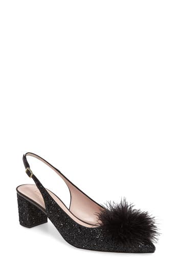 kate spade new york monica maribou pouf glitter pump (Women)