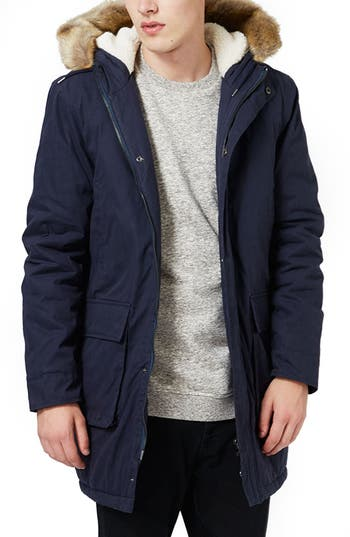 Topman Hooded Parka with Faux Fur Trim