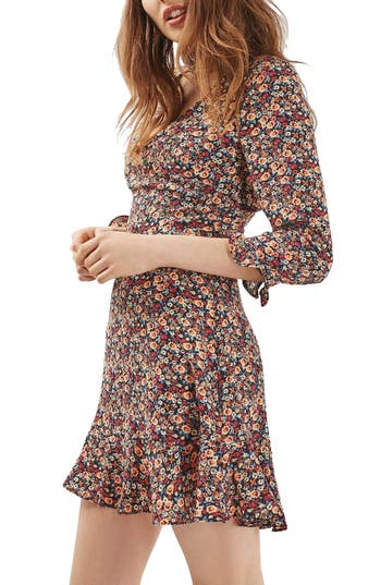 Topshop Peach Pop Ruffle Tea Dress
