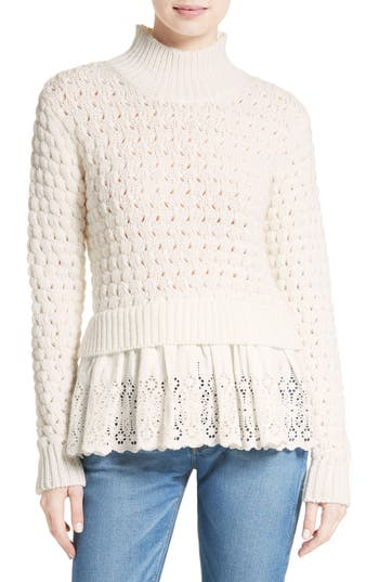Rebecca Taylor Eyelet Mock Neck Sweater