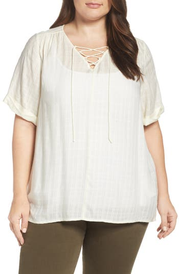 Lucky Brand Lace-Up Top (Plus Size)
