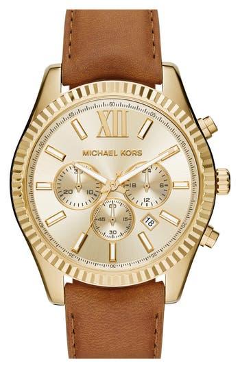 MICHAEL Michael Kors 'Lexington' Chronograph Leather Strap Watch, 44mm