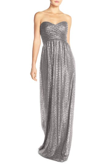 Amsale 'London' Sequin Tulle Strapless Column Gown