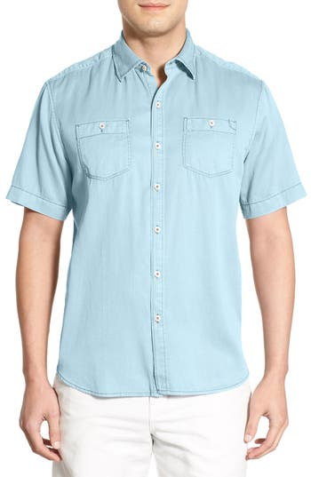 Tommy Bahama 'New Twilly' Island Modern Fit Short Sleeve Twill Shirt