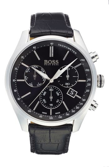 BOSS Swiss Made 'Millisime' Chronograph Leather Strap Watch, 46mm
