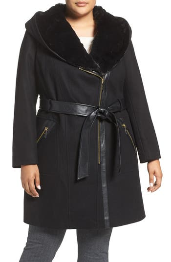 Via Spiga Wool Blend Coat with Faux Fur Trim