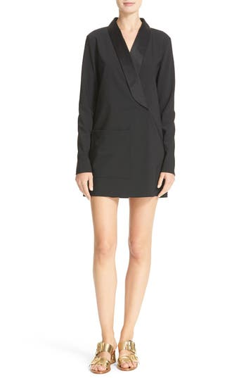 Tibi Satin Lapel Tuxedo Dress